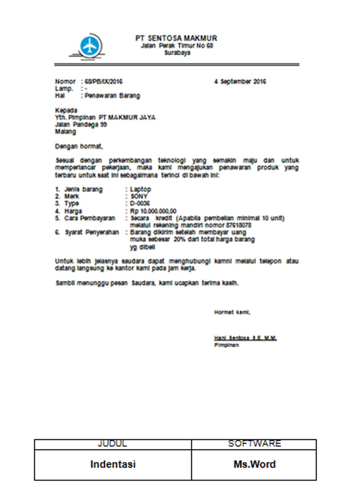 Kursus Online Komputer Surabaya - Program Aplikasi Perkantoran - Hasil Karya NASKAH INDENTASI